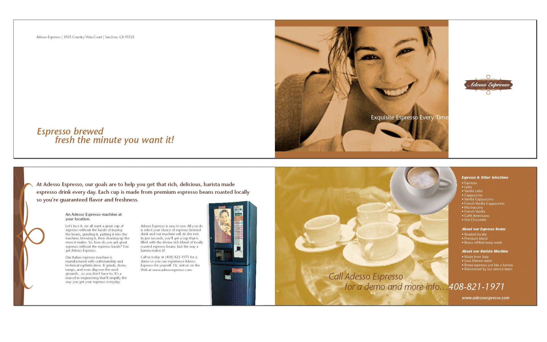 The brochure's function is to let companies and facilities know they too can have an Adesso Espresso Machine at their location to provide Italian quality drinks to employees or visitors.