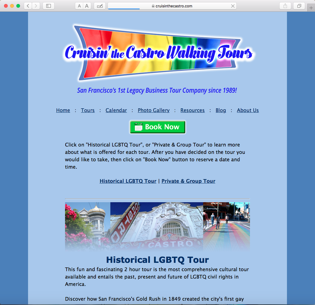 Cruisin the Castro .com's Tours Page