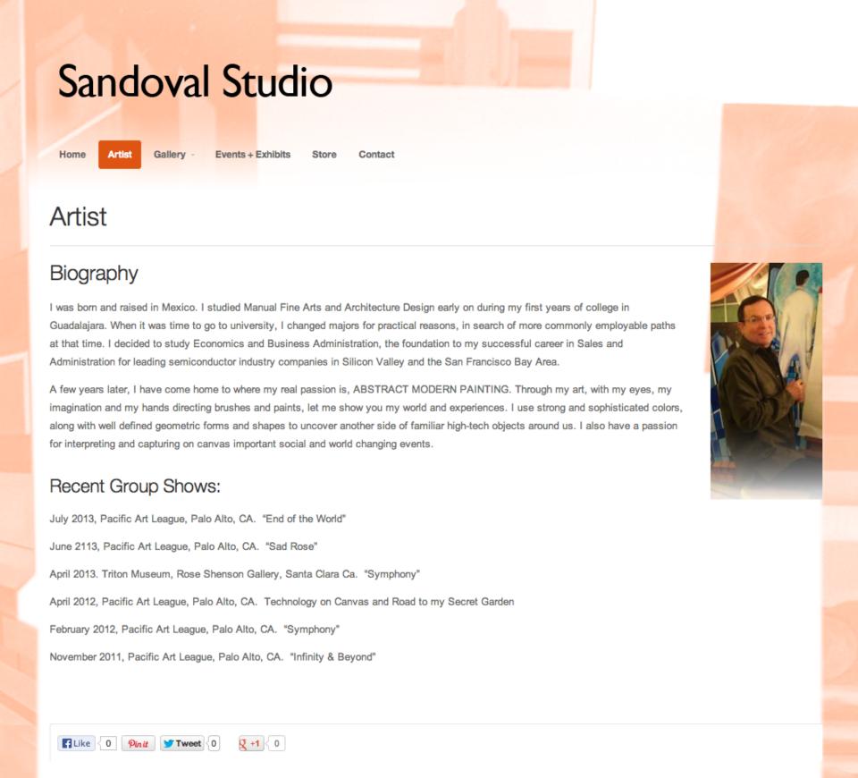 Sandoval Studio.com Artist Biography Page